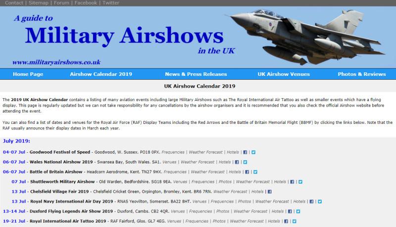 UK Airshow Calendar 2020.