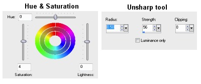 Saturation & Unsharp tools.